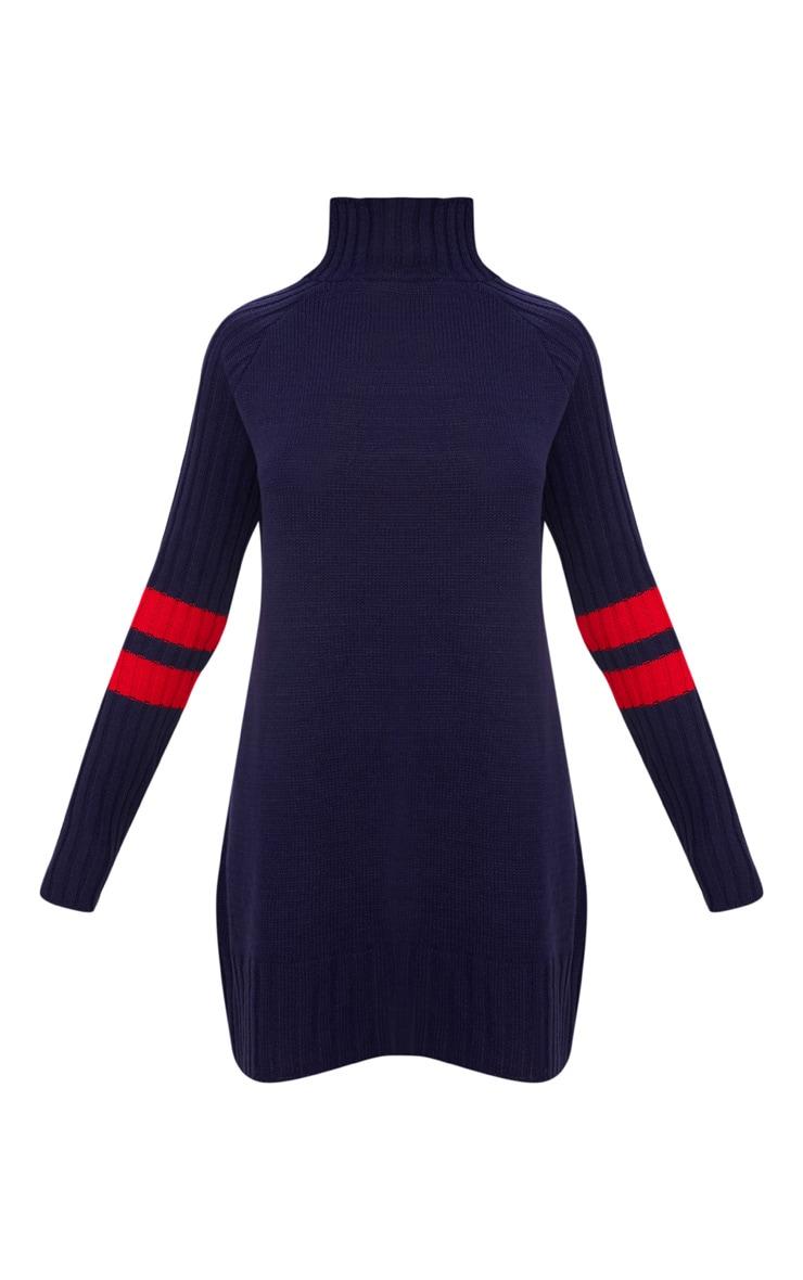 Navy High Neck Sports Stripe Dress 3