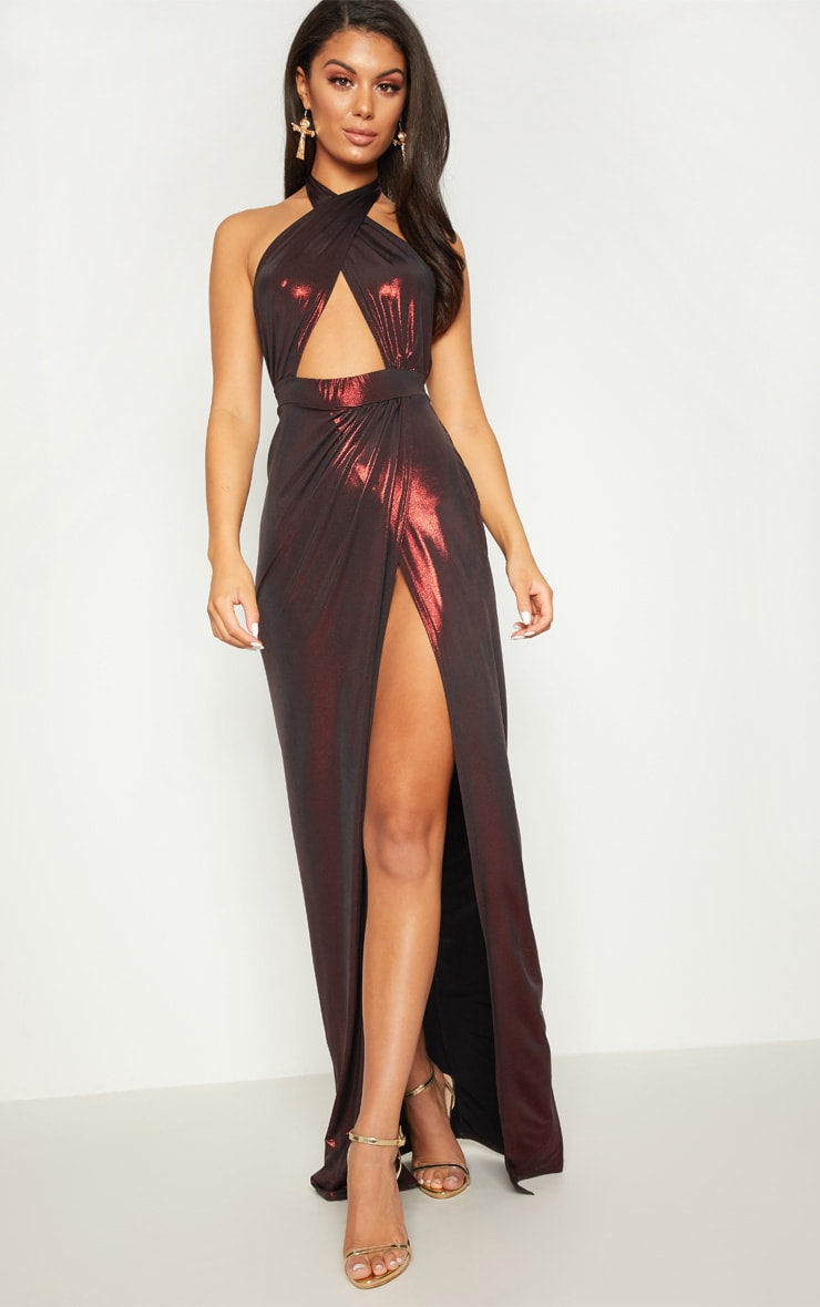 Red Metallic Halterneck Maxi Dress