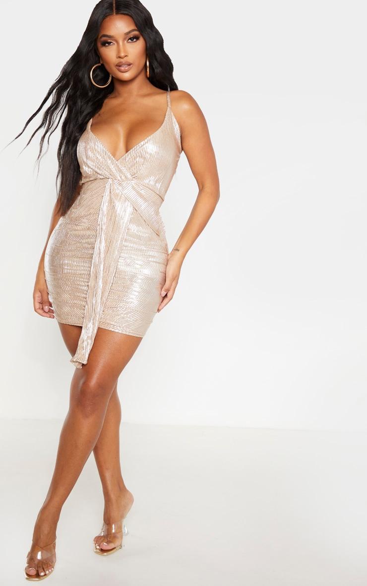 Shape Gold Plisse Drape Dress 1