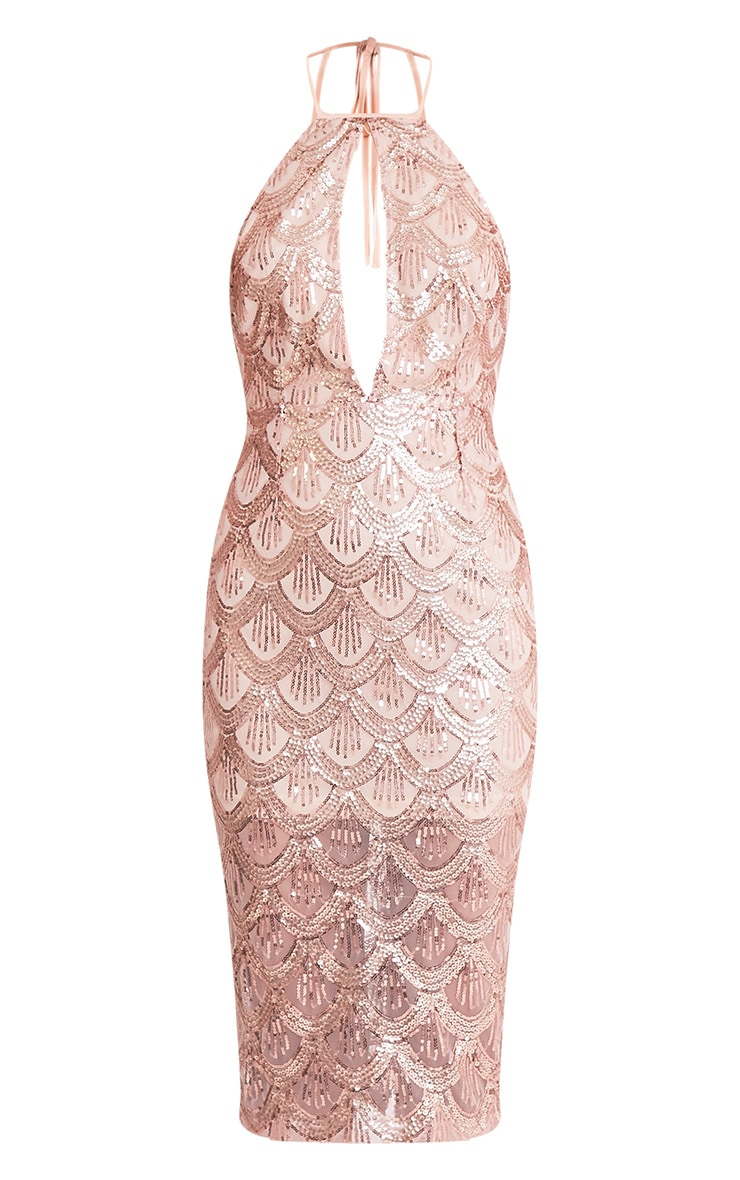 Amarie Rose Gold High Neck Keyhole Sequin Midi Dress 3