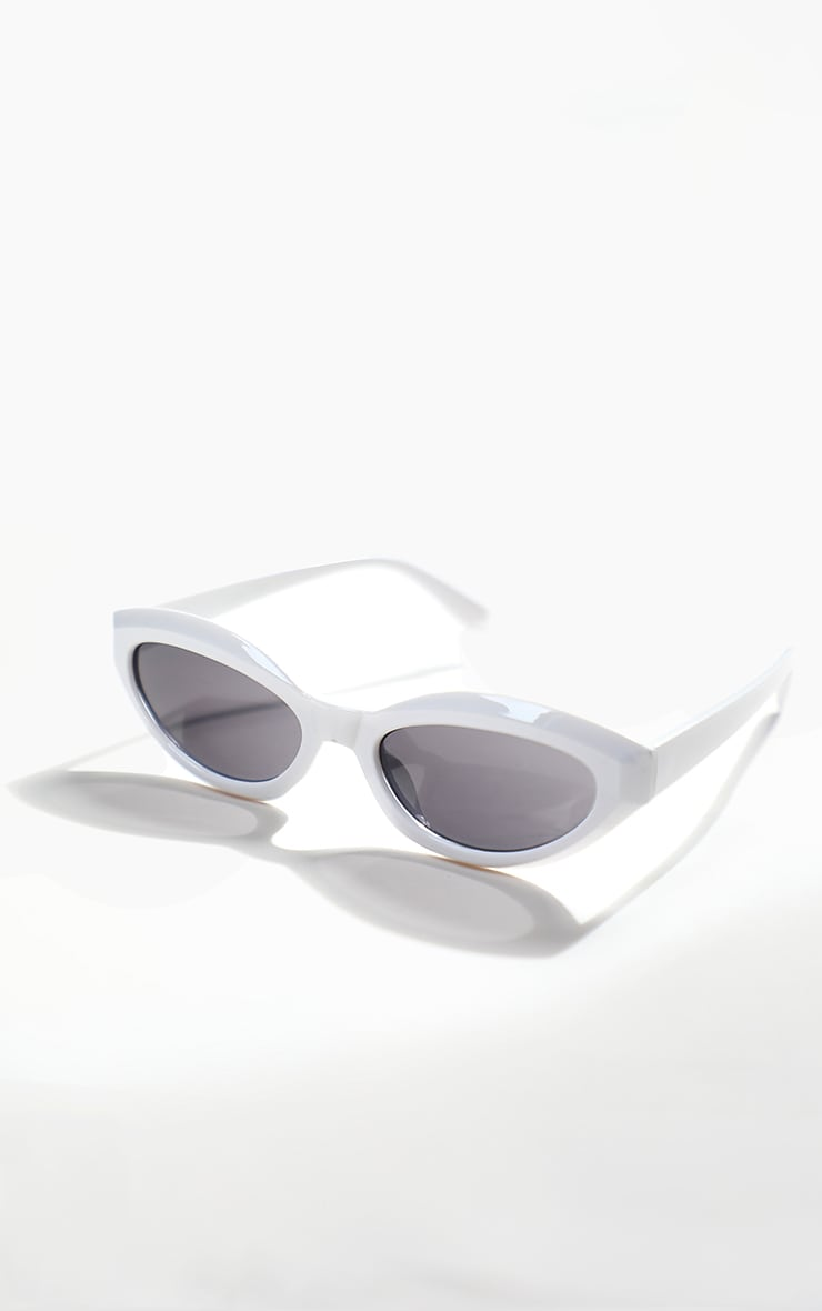 White Round Frame Sunglasses 1