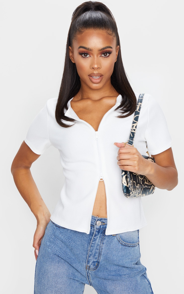 White Short Sleeve Jumbo Rib Double Zip Top 4