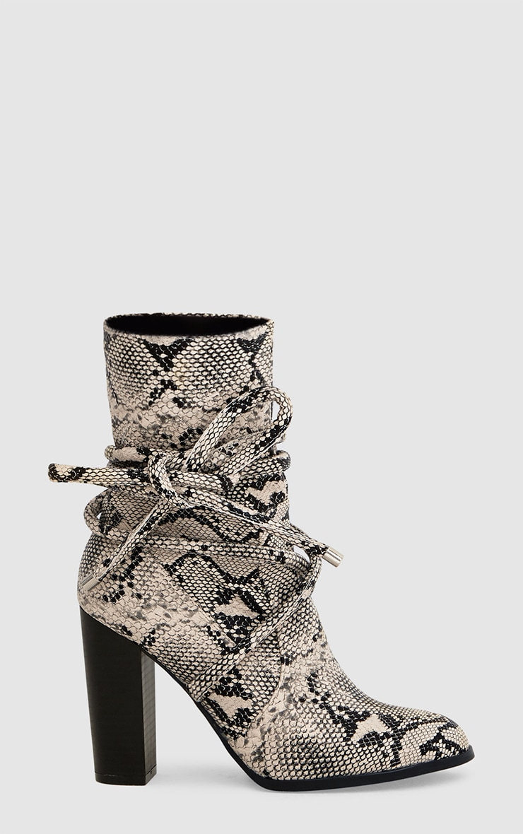 Grey Snake Print Tie Detail Heeled Ankle Boots 3