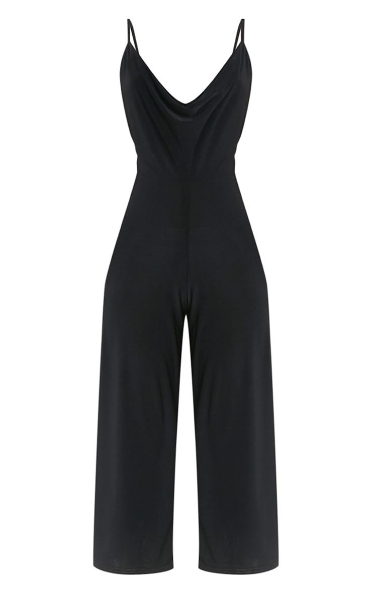 Sofia Black Scoop Front Culotte Slinky Jumpsuit  3