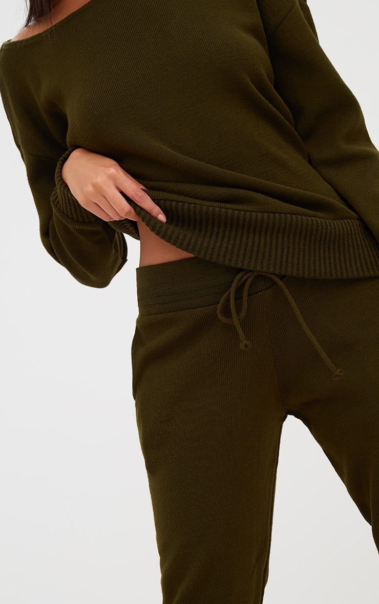 Khaki Jogger Jumper Knitted Lounge Set 5