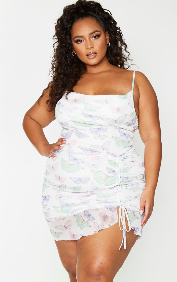 Plus White Butterfly Print Mesh Ruched Bodycon Dress 1