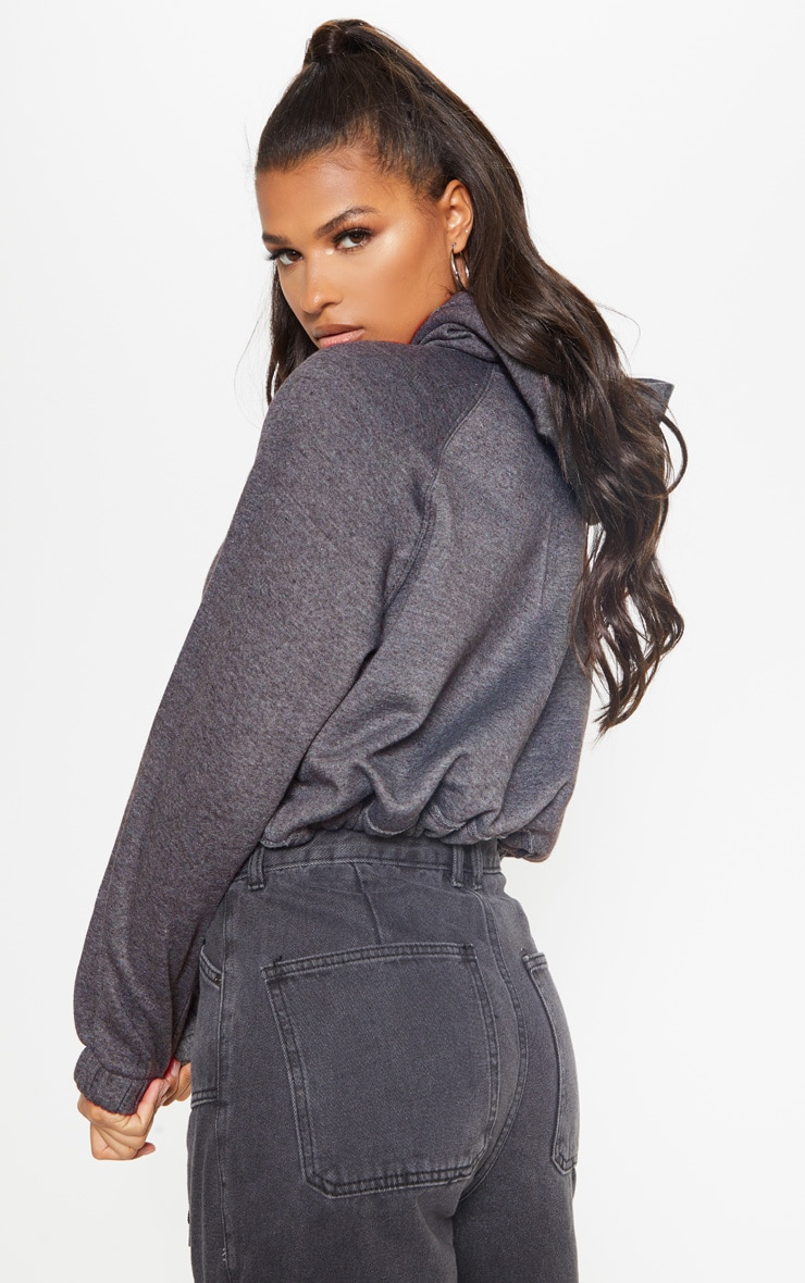 Charcoal Grey Button Front Oversized Hoodie 2