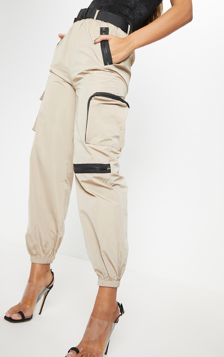 Stone Shell Belted Pocket Detail Joggers 2