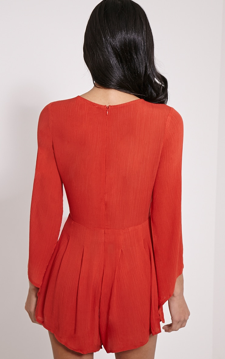 Clemence Orange Lace Up Detail Bell Sleeve Playsuit 2