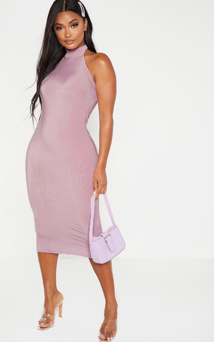 Shape Dusty Lilac Slinky Halterneck Midaxi Dress 1