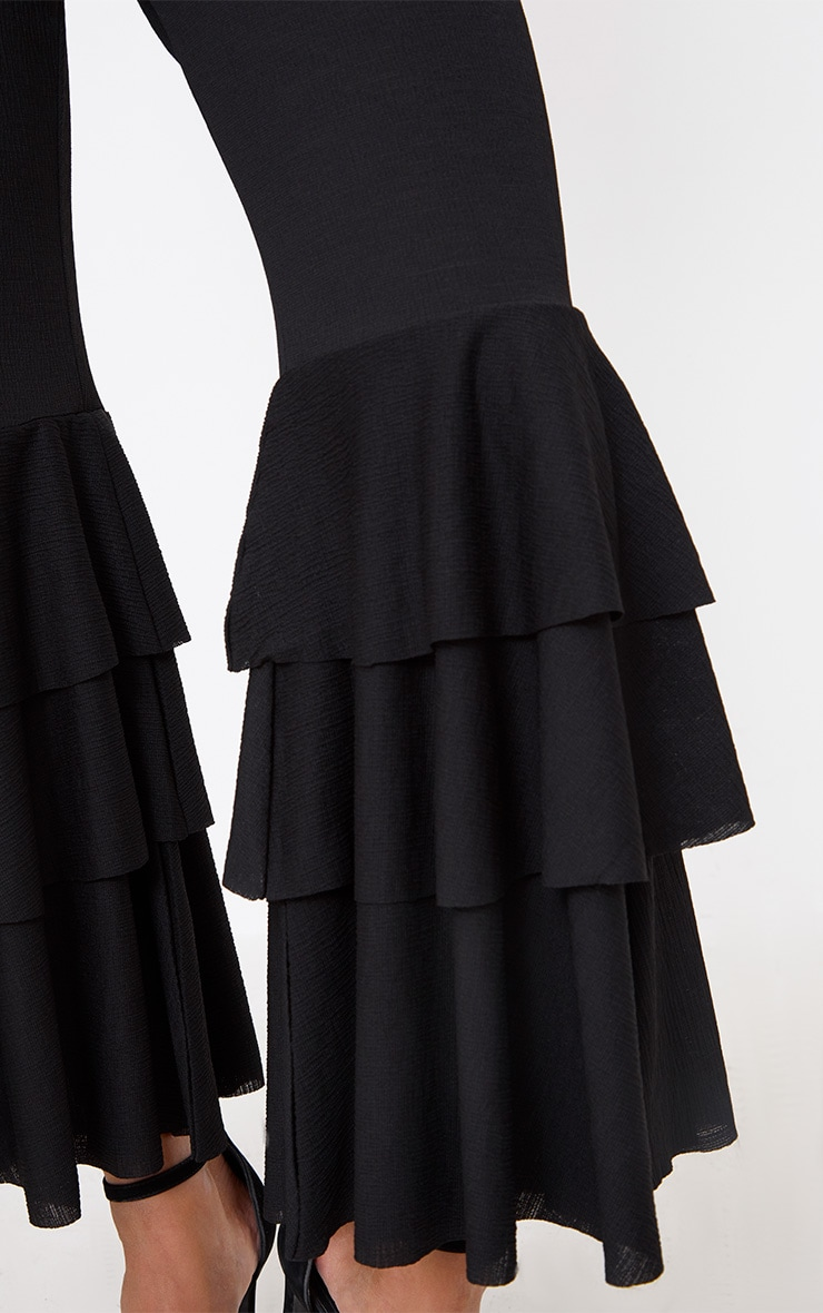 Black Layered Frill Flare Trousers 5
