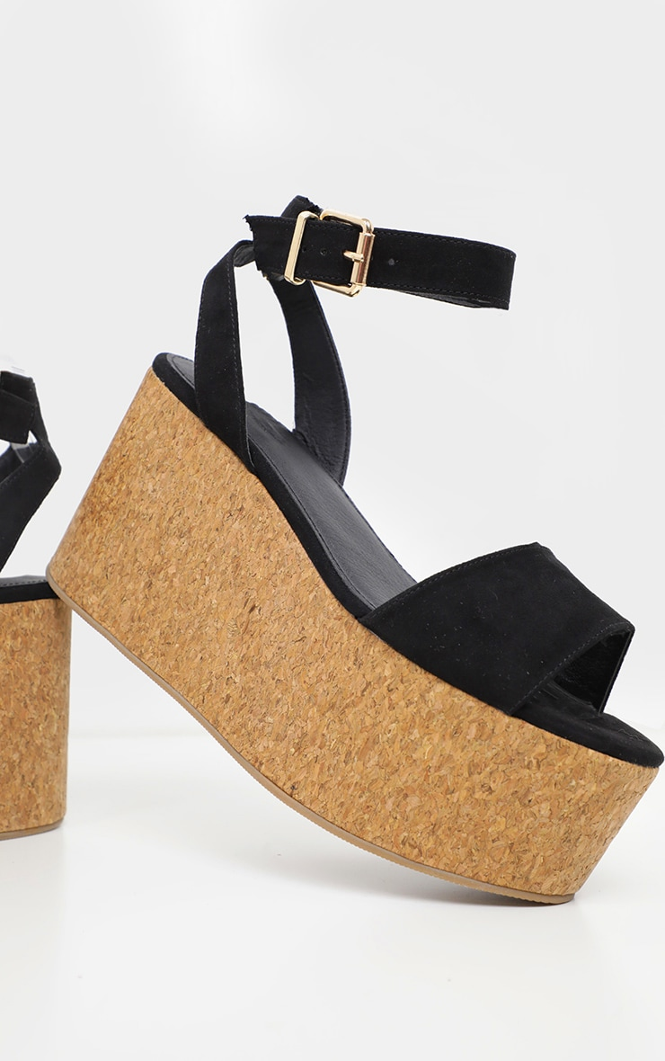 Black Double Flatform Cork Sandal  3