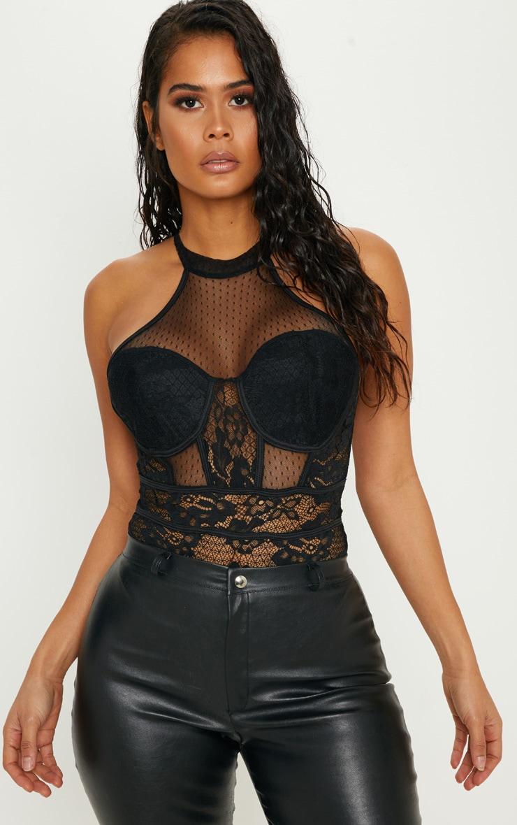 Black High Neck Mixed Lace Sleeveless Bodysuit 1