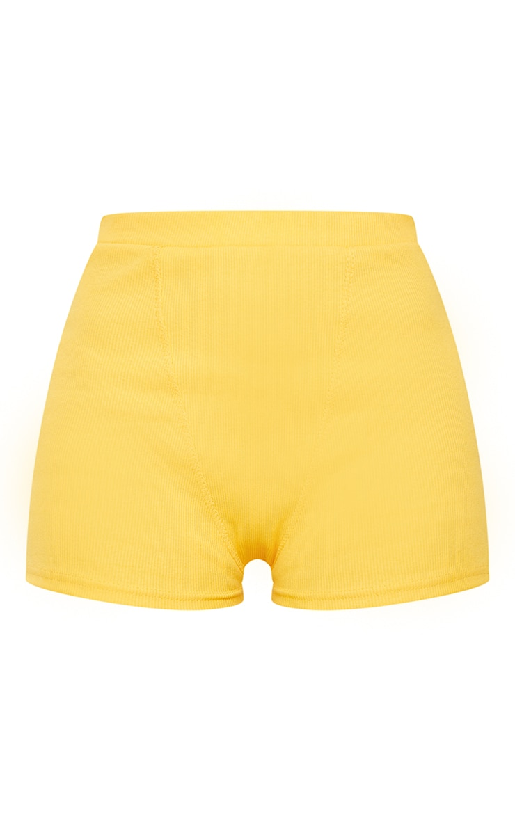 Yellow Heavy Rib Boxer Seam Detail Hot Pants 6