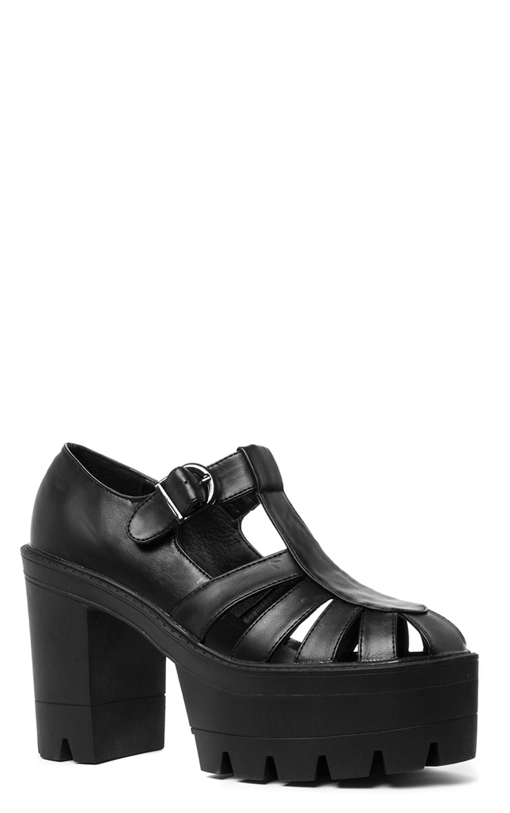 Jamiya Black Cut Out Heeled Sandals  3