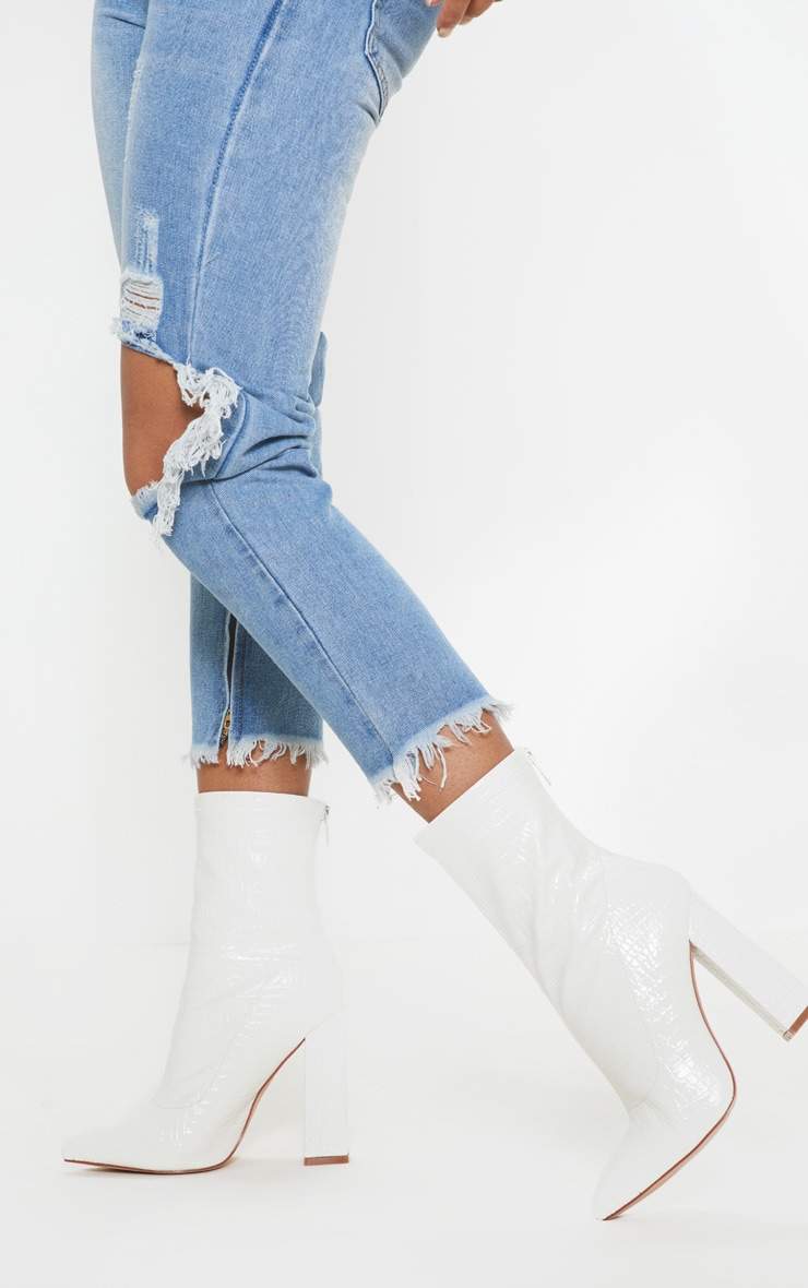 White Croc Block Heel Point Boot 1