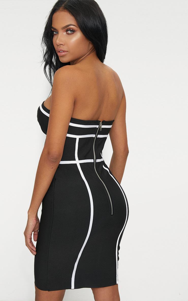 Black Bandeau Contrast Stripe Bandage Bodycon Dress 2