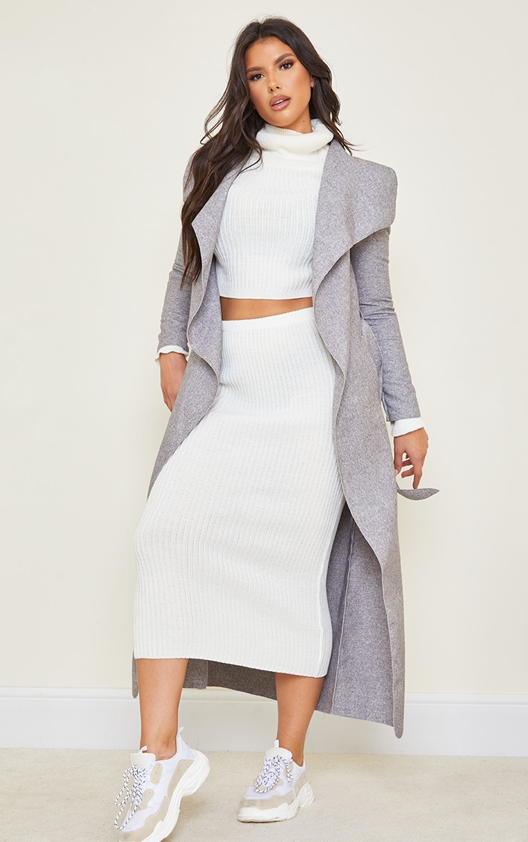 Tall Grey Maxi Length Oversized Waterfall Belted Coat 1