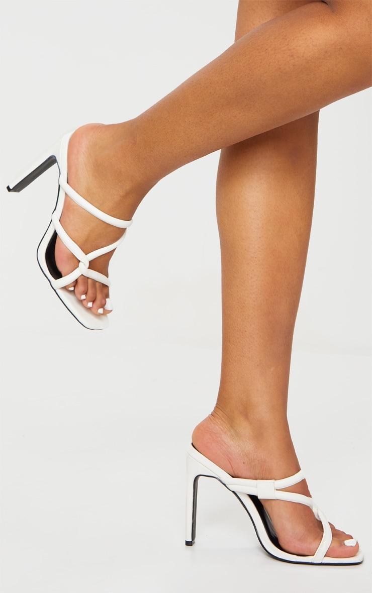 White Flat Heel Tube Strap Mule Heels 1