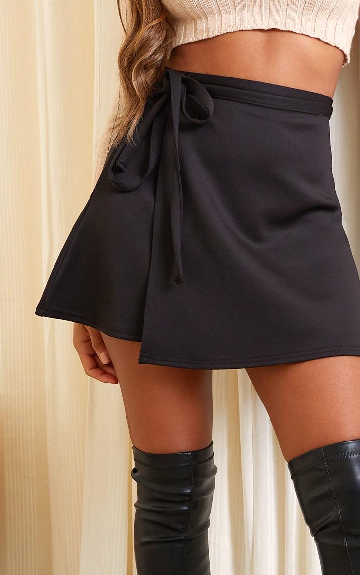 Black Wrap Scuba Mini Skirt 5