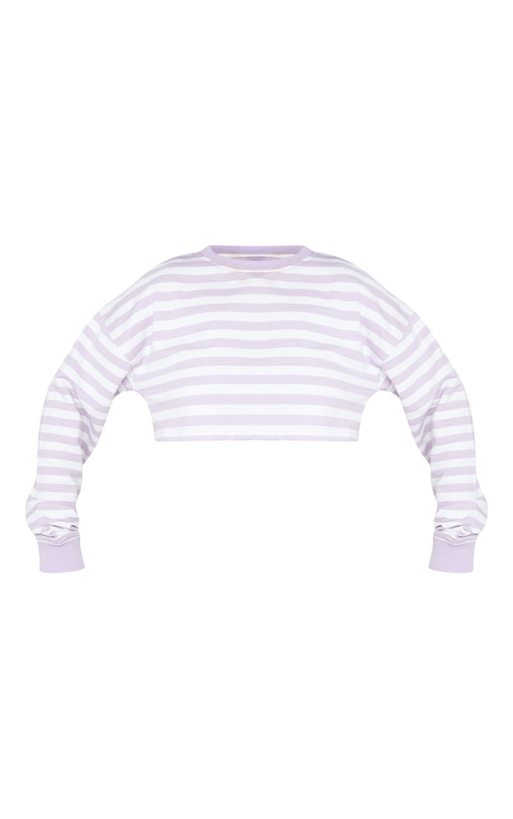 Pull court oversize lilas à rayures et manches longues 5