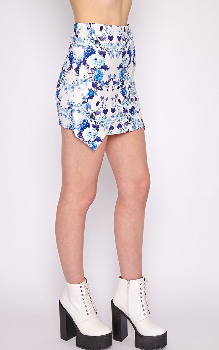 Effie Blue Floral Asymmetric Skirt  4