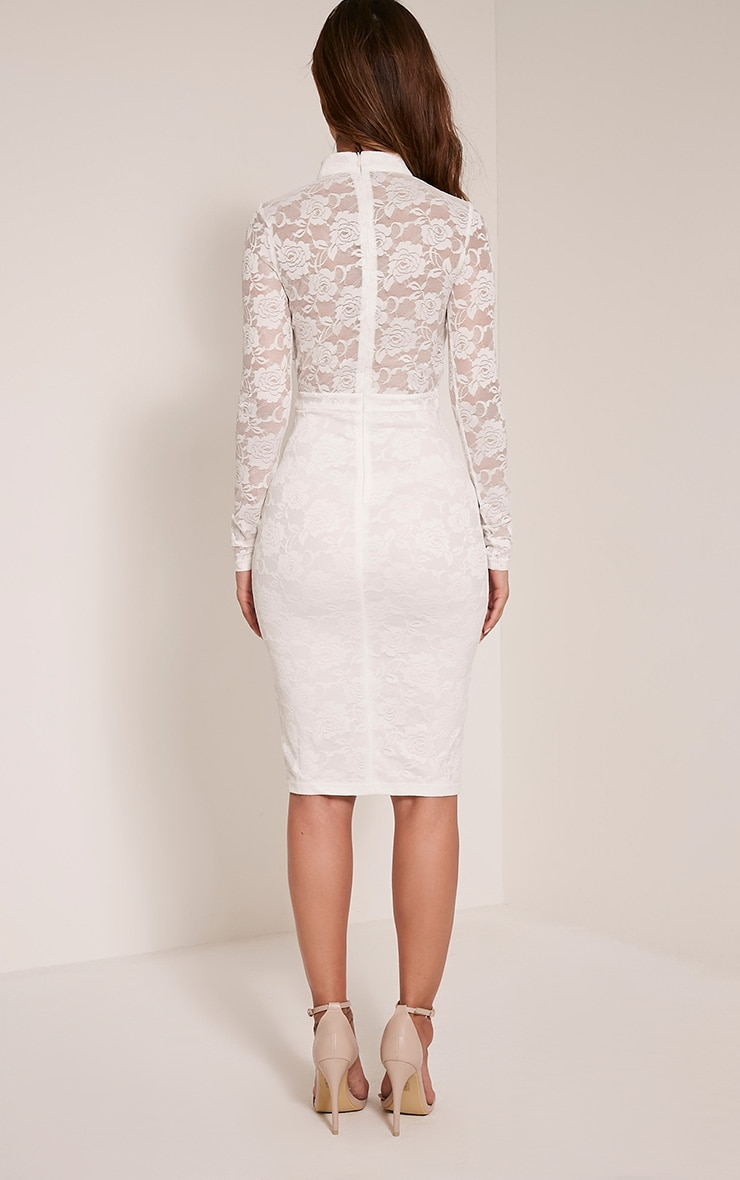 Emely White Neck Detail Cut Out Lace Midi Dress 2