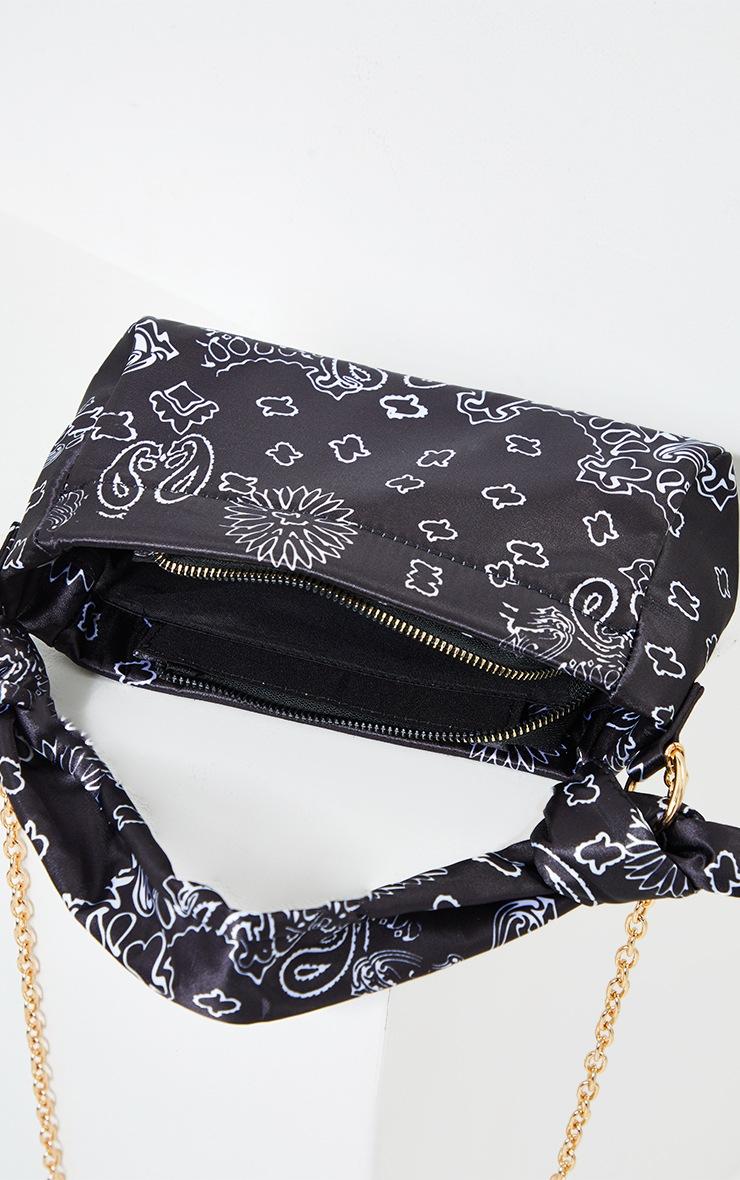 Black Scarf Print Double Knot Shoulder Bag 4