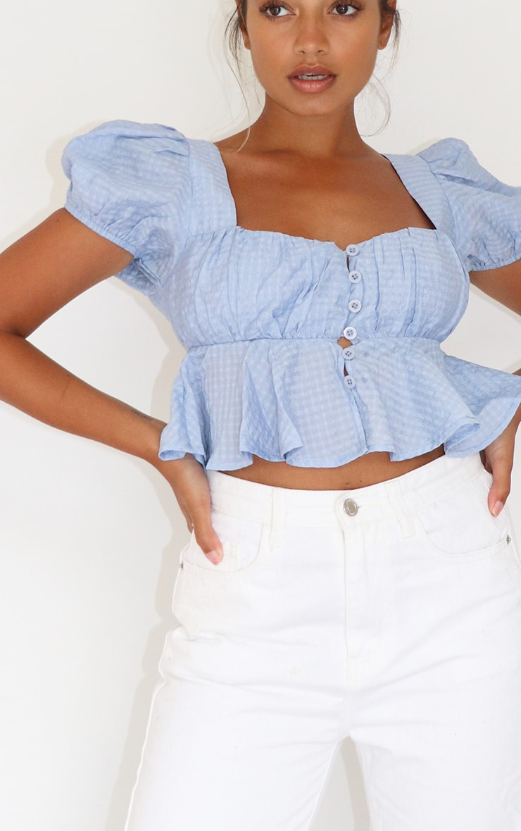 Petite Baby Blue Button Detail Puff Sleeve Blouse 4