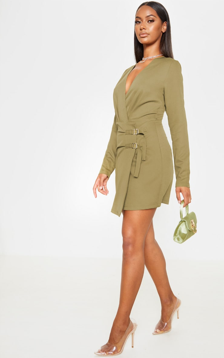 Khaki Buckle Detail Wrap Bodycon Dress 4