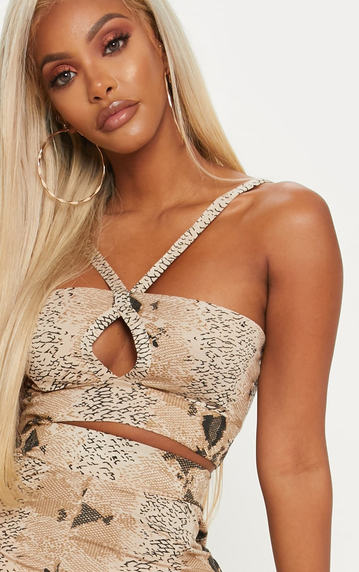 Shape Taupe Snake Print Strappy Crop Top 5