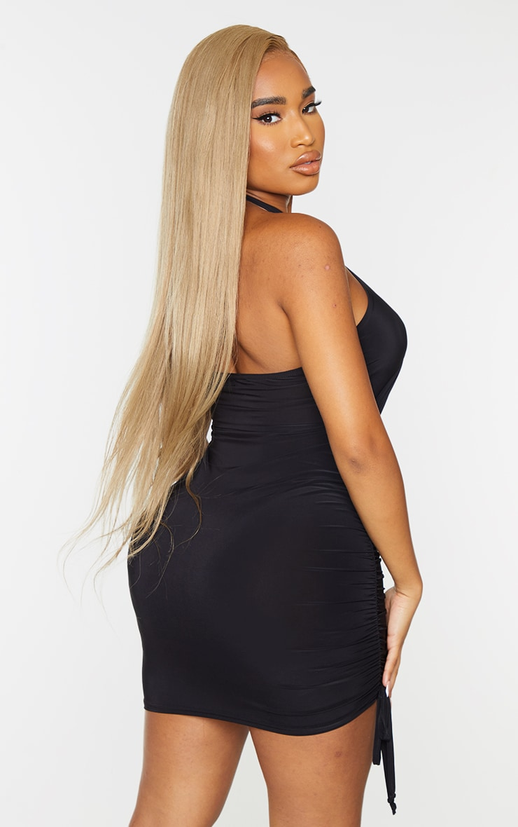 Shape Black Slinky Wrap Detail Ruched Bodycon Dress 2