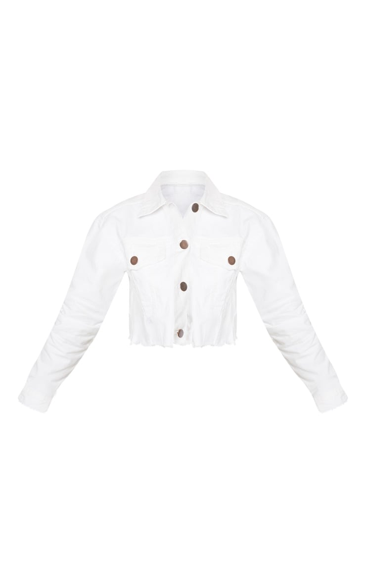 Petite White Raw Edge Cropped Denim Jacket 3