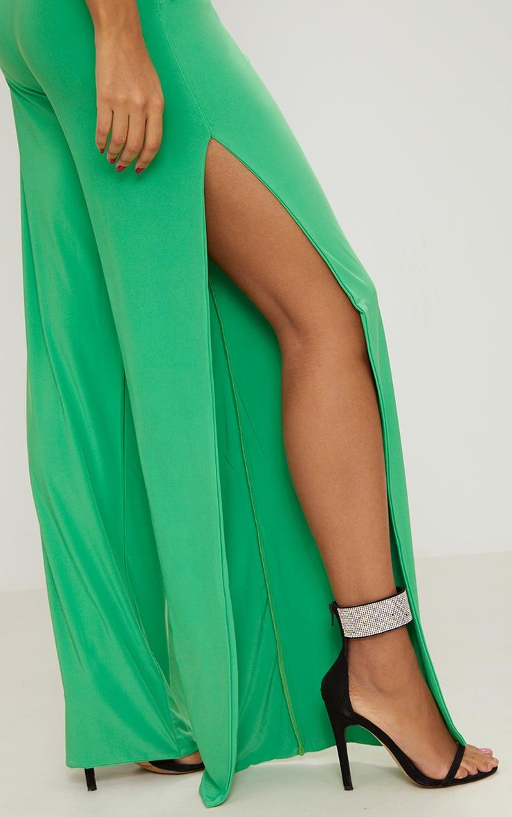 Bright Green Side Split Slinky Trousers 5