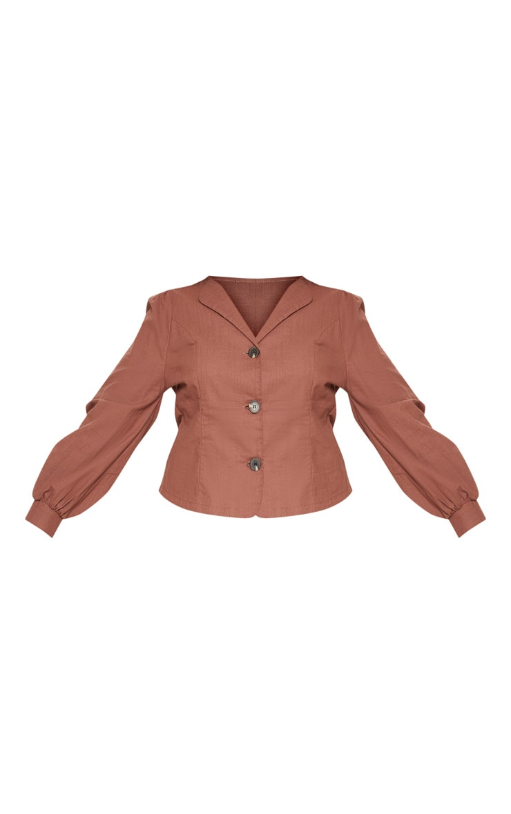 Plus Brown  Woven Button Front Puff Sleeve Top  3