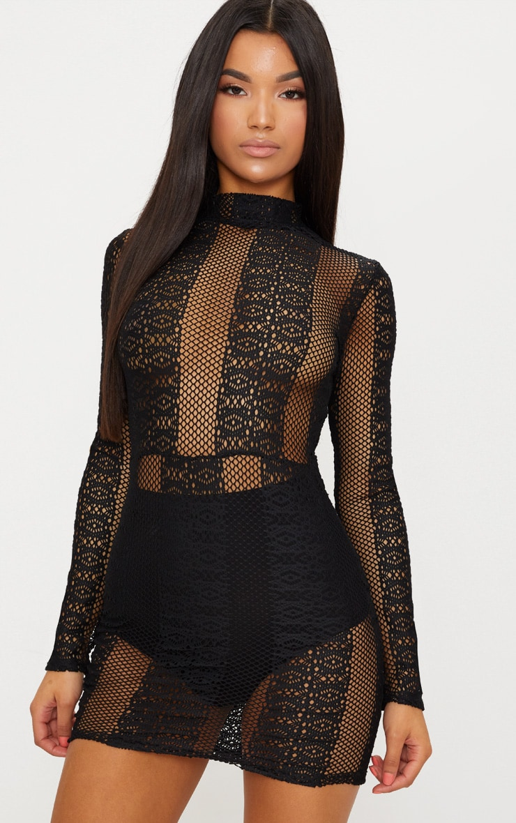 Black Lace Sheer High Neck Bodycon Dress Pretty Little Thing 2fCHJQ6a