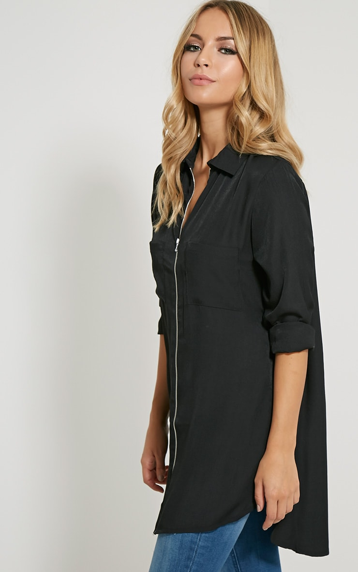 Veena Black Zip Detail Shirt 4