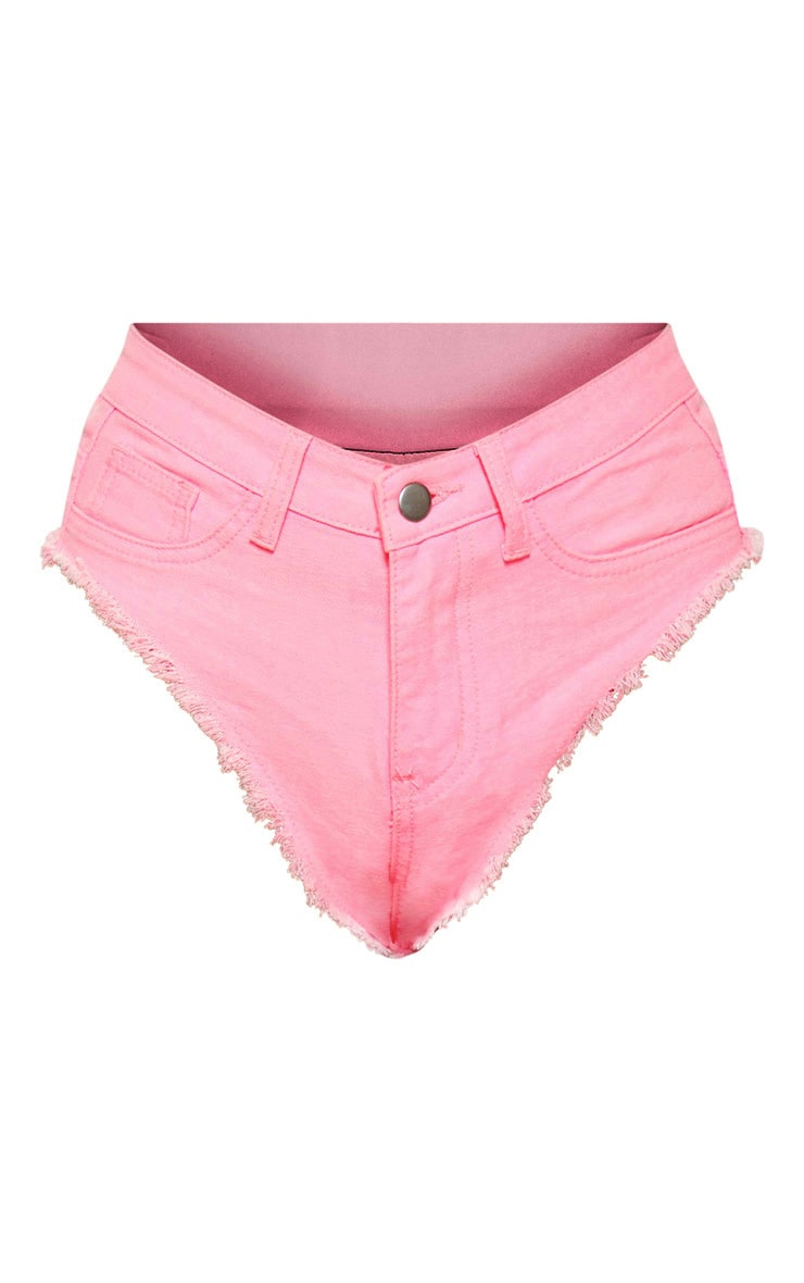 Neon Pink Denim Knicker Short 3