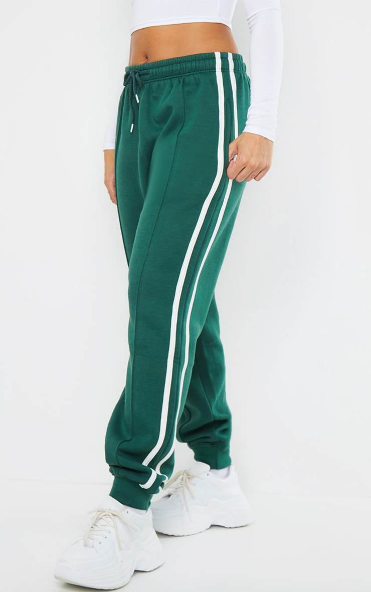 Forest Green Double Side Stripe Joggers 2