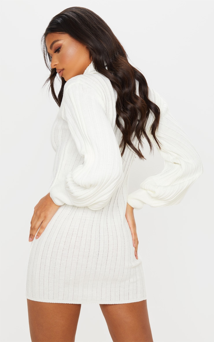 Cream Roll Neck Ribbed Knitted Sweater Dress 2