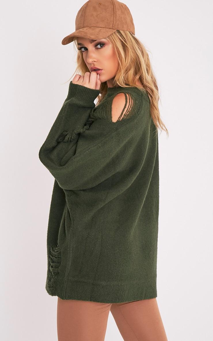 Raysa Khaki Distressed Oversized Knitted Jumper 4