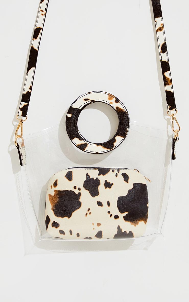 Black Cow Print Clear Pu Grab Bag 2