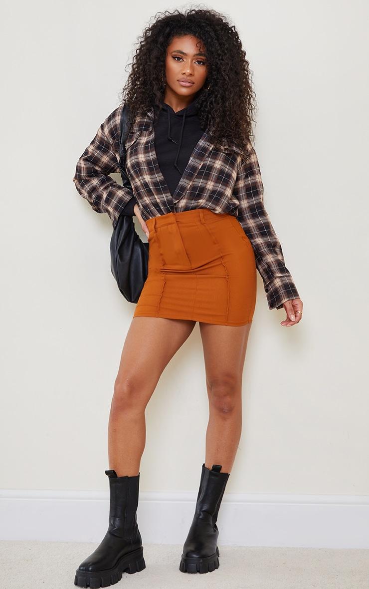 Rust Woven Seam Detail Mini Skirt 1