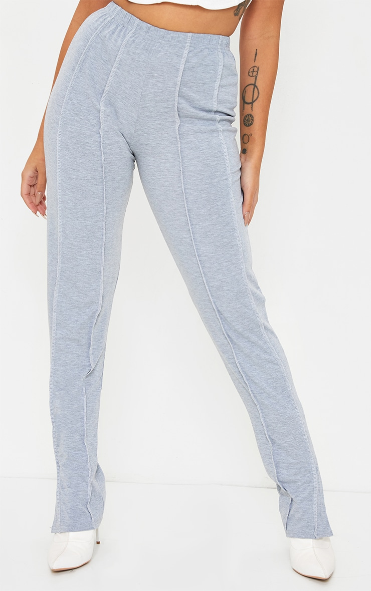 Petite Grey Contrast Seam Jersey Split Hem Leggings 2