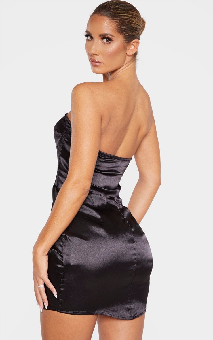 Black Satin Ruched Side Bandeau Bodycon Dress 2