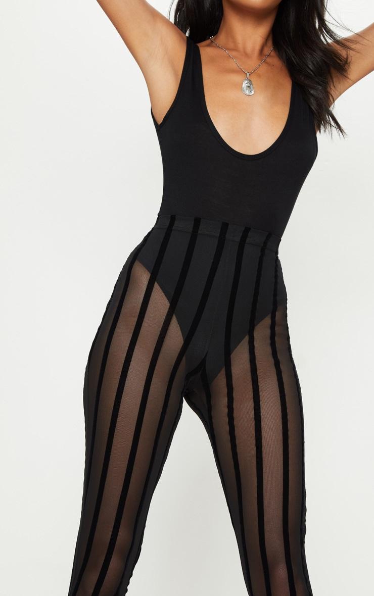 Black Mesh Stripe Legging 5