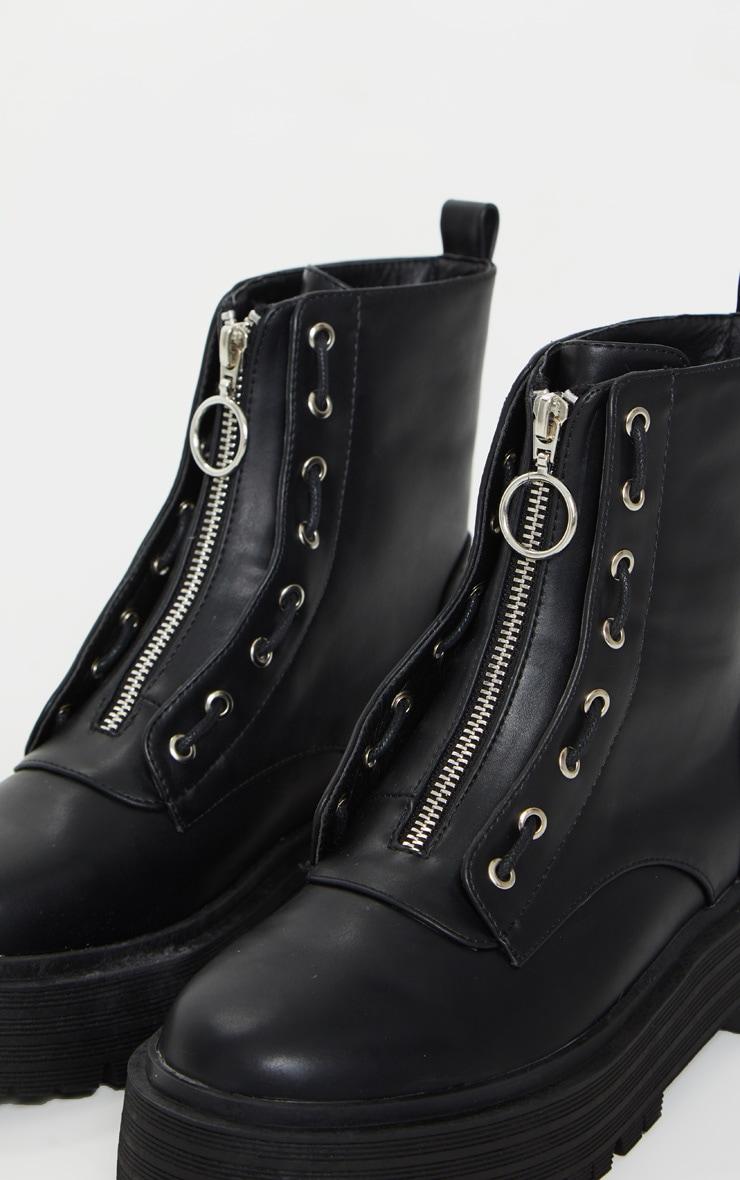 Black Double Sole Zip Front Biker Boots 3