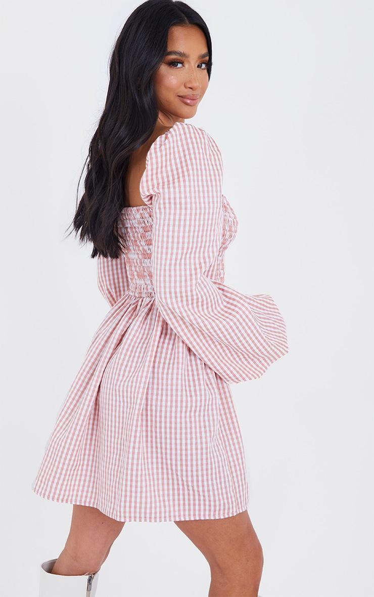 Petite Pink Shirred Detail Gingham Smock Dress 2