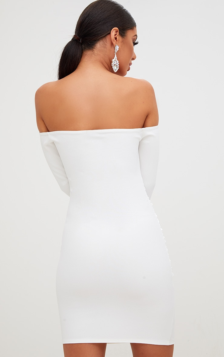 White Long Sleeve Ruched Bardot Bodycon Dress 2