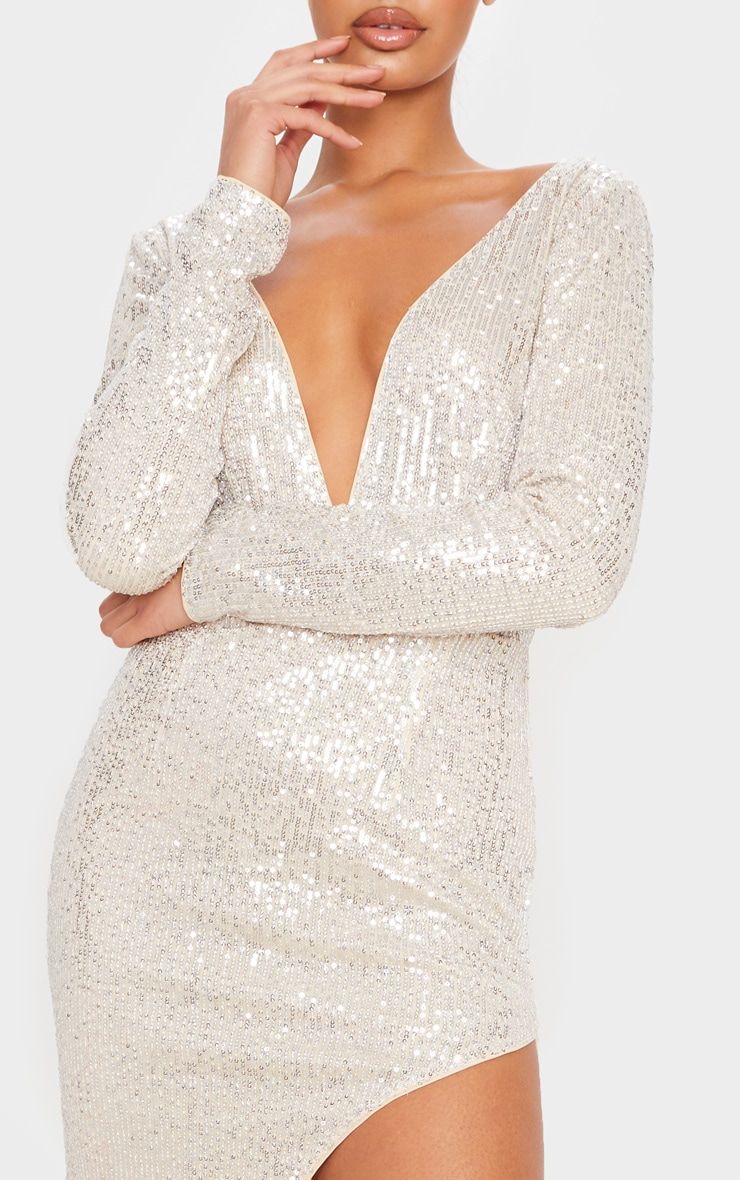Silver Sequin Long Sleeve Plunge Maxi Dress 5